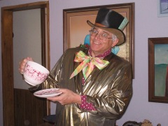 an image of author as the Mad Hatter